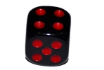 Кости игральные 1. 2х1. 2 см, черные, красные точки, фасовка 100шт оптом