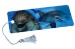 """Закладка для книг 3D, BRAUBERG, объемная c движением """"Дельфин"""", с декоративным шнурком-завязкой, 125749 оптом"""