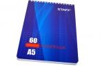 Блокнот А5 60л., гребень, жест. подлож., кл., эконом, STAFF, 4вида, 146*206мм, оптом