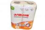Полотенца бумажные быт., спайка 2 шт., 2-х слойные,  (2х18 м), ЛАЙМА, 22х23см, белые, оптом