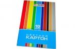 Картон цветной А4 МЕЛОВАННЫЙ, 10л. 10цв., в папке, HATBER, 195х280мм, Creative, 10Кц4_05809 (N049600) оптом