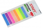 Закладки клейкие STAFF НЕОНОВЫЕ пластиковые, 45х8мм, 8 цветов х 20 листов, на пластик. основании, 129354 оптом
