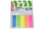 Закладки клейкие STAFF НЕОНОВЫЕ пластиковые, 45х12мм, 5 цветов х 20 листов, на пластик. основании, 129355 оптом