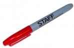 Маркер перманентный (нестираемый) STAFF, эргономичный корпус, круглый након. 2мм, красный, 151235 оптом