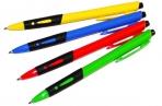 Ручка шариковая автоматическая синяя, 0, 7мм, грип, OfficeSpace цветной корпус оптом
