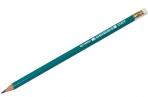 Карандаш ч/гр STAFF, 1 шт., НВ, пластиковый, зеленый корпус, с резинкой, заточ, 180963 оптом