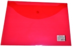 Папка-конверт с кнопкой BRAUBERG А4, прозрачная, красная, до 100 листов, 0, 15мм, оптом