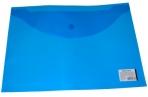 Папка-конверт с кнопкой BRAUBERG А4, прозрачная, синяя, до 100 листов, 0, 15мм, 221637 оптом