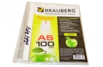 Папки-файлы перфорированные А5 BRAUBERG, КОМПЛЕКТ 100шт., вертикальные, гладкие, Яблоко, 0, 035мм, оптом