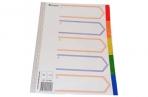 Разделитель пластиковый BRAUBERG для папок А4, по цветам 5цв., с оглавлением, Цветной, Китай, 221846 оптом