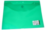 Папка-конверт с кнопкой BRAUBERG А5 240*190мм, прозрачная, зеленая, 0, 15мм, 224025 оптом