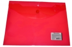 Папка-конверт с кнопкой BRAUBERG А5 240*190мм, прозрачная, красная, 0, 15мм, 224026 оптом