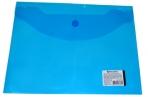 Папка-конверт с кнопкой BRAUBERG А5 240*190мм, прозрачная, синяя, 0, 15мм, 224027 оптом
