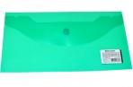 Папка-конверт с кнопкой BRAUBERG 250*135мм, прозр, зеленая, 0, 15мм, 224029 оптом