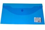 Папка-конверт с кнопкой BRAUBERG 250*135мм, прозр, синяя, 0, 15мм, 224031 оптом