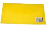 Папка-конверт с кнопкой BRAUBERG 250*135мм, прозр, желтая, 0, 15мм, 224032 оптом