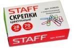 Скрепки STAFF эконом, 28 мм, цветные, 70 шт. в карт. коробке, оптом