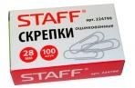 Скрепки STAFF эконом, 28 мм, оцинкованные, 100шт. в карт. коробке, РОССИЯ, оптом