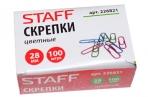 Скрепки STAFF, 28 мм, цветные, 100 шт., в картонной коробке, 226821 оптом