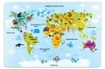 Настольное покрытие для письма и творчества ПИФАГОР размер А3, пластик, Карта мира, 227248 оптом