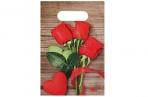 """Пакет """"Свежие розы"""", полиэтиленовый с вырубной ручкой, 20 х 30 см, 30 мкм оптом"""