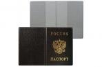Обложка для паспорта с гербом, ПВХ, черная, ДПС, 2203. В-107 оптом