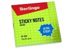 """Самоклеящийся блок Berlingo """"Ultra Sticky"""", 75*75мм, 80л, в клетку, зеленый неон оптом"""