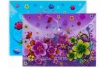 Папка-конверт на кнопке, формат А4, 100 мкр, «Цветы», МИКС оптом
