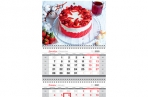 "2021 Календарь квартальный 3 бл. на 3 гр. OfficeSpace Mini ""Strawberry cake"", с бегунком, 2021г. оптом"