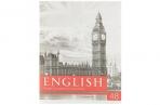 Тетрадь предметная «Чёрное-белое», 48 листов в клетку, «Английский язык», со справочным материалом, белизна 75%, бумажная обложка оптом