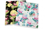 """Тетрадь 36 листов клетка """"Фламинго"""", белизна 95 %, обложка мелованный картон, микс оптом"""