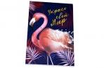 Блокнот А6, 24 листа на скрепке Calligrata «Фламинго – 2», картонная обложка оптом