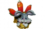 """Подставка д/визиток-полистоун UW30-15268 8см """"Кролик с морковками"""" /2 /0 /144 оптом"""