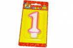 "Свечи для торта с розовой окантовкой ""Цифра 1"" е/п МИЛЕНД С-1185 [4665295511851] (577251) оптом"