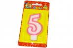"Свечи для торта с розовой окантовкой ""Цифра 5"" е/п МИЛЕНД С-1189 [4665295511899] (577342) оптом"