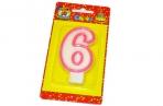 "Свечи для торта с розовой окантовкой ""Цифра 6"" е/п МИЛЕНД С-1190 [4665295511905] (577343) оптом"