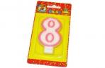 "Свечи для торта с розовой окантовкой ""Цифра 8"" е/п МИЛЕНД С-1192 [4665295511929] (577345) оптом"