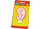 "Свечи для торта с розовой окантовкой ""Цифра 9"" е/п МИЛЕНД С-1193 [4665295511936] (577346) оптом"