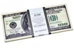"""Деньги шуточные """"100 долларов"""", упаковка с ероподвесом, ш/к 72403 оптом"""