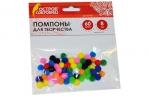 Помпоны для творчества, 10 цветов, 8мм, 60шт., ОСТРОВ СОКРОВИЩ, 661422 оптом