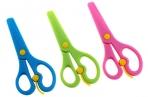 Ножницы детские 13 см, пластиковые, с фиксатором, закруглённые концы, в картонной коробке, МИКС оптом
