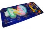 Свеча для торта нумерологическая 2, разноцветная, 7см,  (ACTION!) оптом