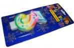Свеча для торта нумерологическая 3, разноцветная, 7см,  (ACTION!) оптом