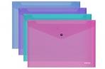 """Папка-конверт на кнопке Erich Krause """"Vivid"""" A4, 180мкм, полупрозрачная, ассорти оптом"""