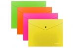 Папка-конверт на кнопке В5, полупрозрачная, Erich Krause Glossy Neon, ассорти оптом