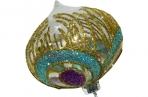 Украшение елочное шар ЛУКОВИЦА ПАВЛИН, прозрачный, голубой с фиолетовым, 1 шт., 8 см, стекло,  (WINTER WINGS) оптом