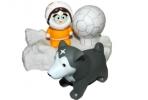 1toy новорожд. Буль-Буль наб. игр. для ванны от 3 мес. 4шт. :эскимосы - льдина 15х10см, юрта 5см, медведь/собака 8см, 6, 5см, девочка, 6, 5см, 2 в., в сетке оптом